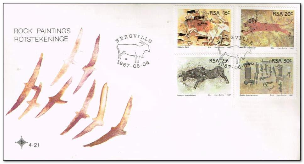 看邮票识南非58: 南非岩画 - 六一儿童 - 译海拾蚌