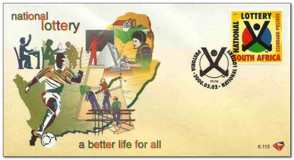 (原创)看邮票识南非28: 南非国家彩票 - 六一儿童 - 译海拾蚌