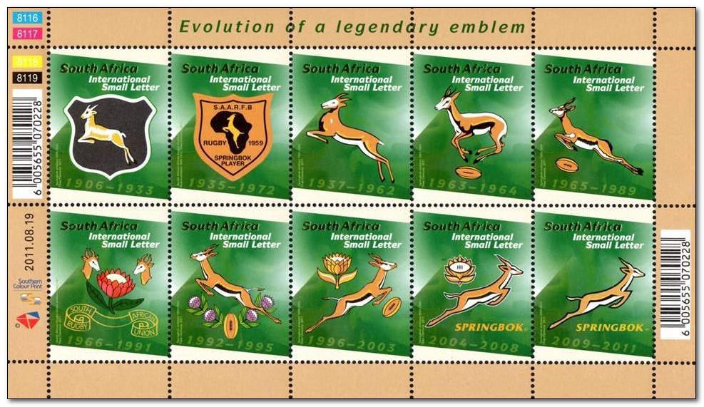 (原创)看邮票识南非29:南非橄榄球队队徽 - 六一儿童 - 译海拾蚌