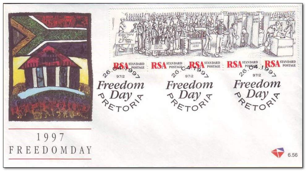 (原创)看邮票识南非45:南非自由日 - 六一儿童 - 译海拾蚌
