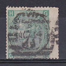 1867 One Shilling Green Plate 4 Large White Corner Letters GH.jpg