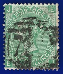 1867 One Shilling Green Plate 4 Large White Corner Letters EJ.jpg