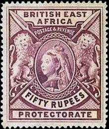 "British East Africa 1897 Definitives - Queen Victoria - Inscribed ""BRITISH EAST AFRICA"" - Larger Size 50r.jpg"