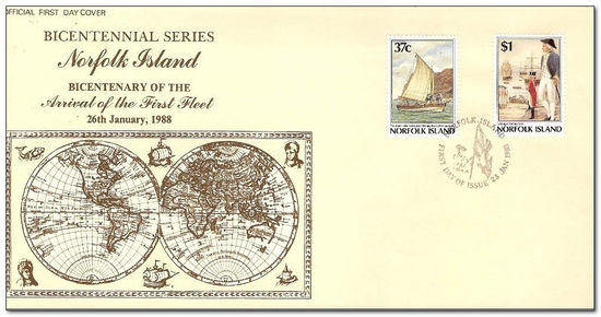 Norfolk Island 1988 Bicentenary of Norfolk Island Settlement. First Fleet at Sydney Cove. 5th Issue fdc.jpg