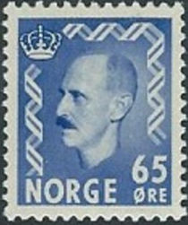 Norway 1955 - 1956 Definitives - King Haakon VII 65ø.jpg