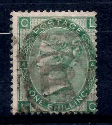 1867 One Shilling Green Plate 4 Large White Corner Letters LC.jpg