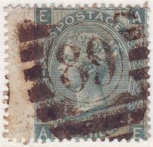 1867 One Shilling Green Plate 4 Large White Corner Letters AE.jpg