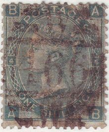 1867 One Shilling Green Plate 4 Large White Corner Letters AB.jpg