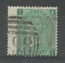 1867 One Shilling Green Plate 4 Large White Corner Letters AI.jpg