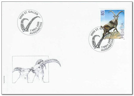 Switzerland 2006 Re-introduction of Ibex Centenary fdc.jpg
