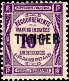 French Post Offices in Tangier 1918 Postage Due Stamps of France New Type - Overprinted 10c.jpg