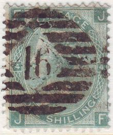 1867 One Shilling Green Plate 4 Large White Corner Letters JF.jpg