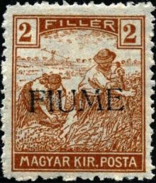 "Fiume 1918 Hungarian Definitives ""Harvesters"" - Overprinted a.jpg"