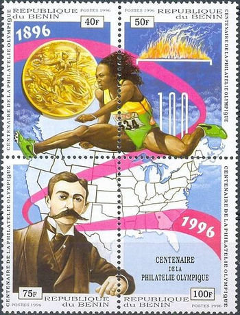 Benin 1996 Centenary of First Olympic Stamps issued by Greece ms.jpg