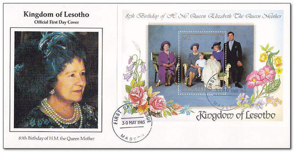 Lesotho 1985 Life and Times of Queen Elizabeth the Queen Mother 1fdc.jpg