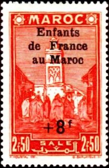 French Morocco 1942 Social Assistance for Children - Surcharged 2f50+8f.jpg