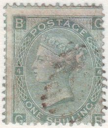 1867 One Shilling Green Plate 4 Large White Corner Letters GB.jpg