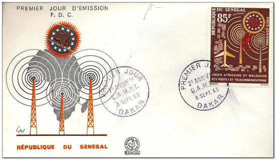 Senegal 1963 African & Malagasian Posts & Communications Union Anniversary fdc.jpg