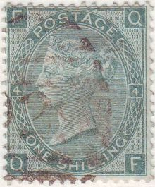 1867 One Shilling Green Plate 4 Large White Corner Letters QF.jpg