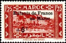 French Morocco 1942 Social Assistance for Children - Surcharged 1f25+6f.jpg