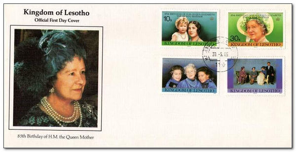 Lesotho 1985 Life and Times of Queen Elizabeth the Queen Mother fdc.jpg