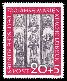 Germany-West 1951 The 700th Anniversary of St. Mary's Church, Lübeck 20+5.jpg