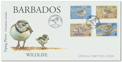Barbados 1999 Threatened Species Piping Plover WWF fdc.jpg