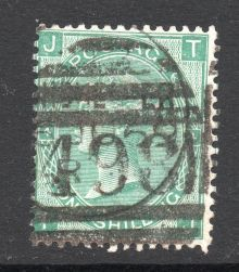 1867 One Shilling Green Plate 4 Large White Corner Letters TJ.jpg