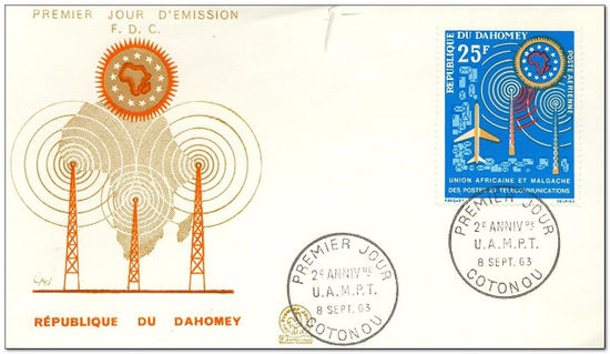Dahomey 1963 Union of African & Malagasy Posts & Telecommunications fdc.jpg