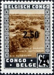 Belgian Congo 1941 Previous Issues - Surcharged 2F50 on 2F40.jpg