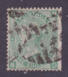 1867 One Shilling Green Plate 4 Large White Corner Letters ND.jpg