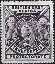 "British East Africa 1897 Definitives - Queen Victoria - Inscribed ""BRITISH EAST AFRICA"" - Larger Size 3r.jpg"