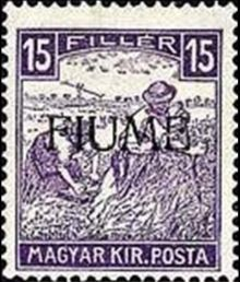 "Fiume 1918 Hungarian Definitives ""Harvesters"" - Overprinted h.jpg"