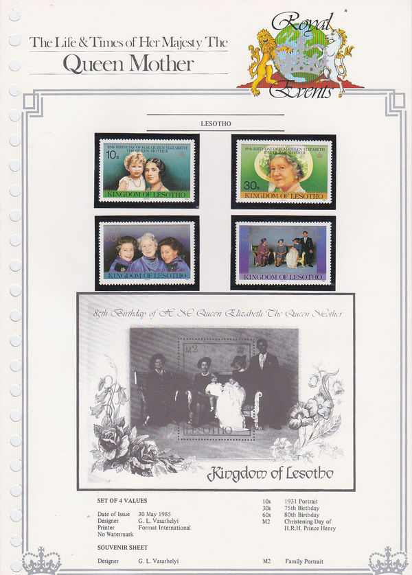Lesotho 1985 Life and Times of Queen Elizabeth the Queen Mother is.jpg