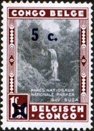 Belgian Congo 1941 Previous Issues - Surcharged 5c on 1F50.jpg
