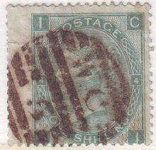 1867 One Shilling Green Plate 4 Large White Corner Letters CI.jpg