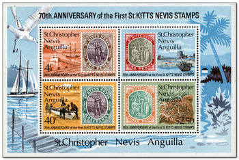 St Christopher, Nevis, Anguilla 1973 70th Anniversary of 1st St.Kitts-Nevis Stamps ms.jpg