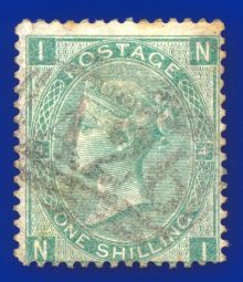1867 One Shilling Green Plate 4 Large White Corner Letters NI.jpg