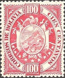 Bolivia 1894 Definitives Coat of arms 100c.jpg