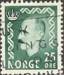 Norway 1955 - 1956 Definitives - King Haakon VII 25ø.jpg