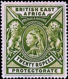 "British East Africa 1897 Definitives - Queen Victoria - Inscribed ""BRITISH EAST AFRICA"" - Larger Size 20r.jpg"