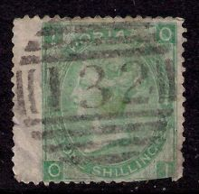 1867 One Shilling Green Plate 4 Large White Corner Letters OI.jpg