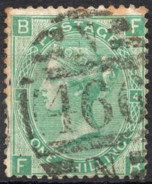 1867 One Shilling Green Plate 4 Large White Corner Letters FB.jpg