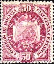 Bolivia 1894 Definitives Coat of arms 50c.jpg