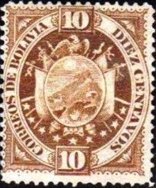 Bolivia 1894 Definitives Coat of arms 10c.jpg