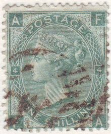 1867 One Shilling Green Plate 4 Large White Corner Letters FA.jpg