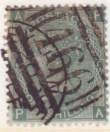 1867 One Shilling Green Plate 4 Large White Corner Letters PA.jpg