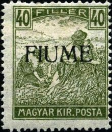 "Fiume 1918 Hungarian Definitives ""Harvesters"" - Overprinted l.jpg"