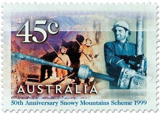 Australia 1999 Snowy Mountains Scheme 50th Anniversary stamp a.jpg