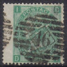 1867 One Shilling Green Plate 4 Large White Corner Letters DI.jpg